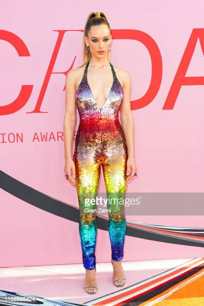 Hannah Ferguson attends the 2019 CFDA Fashion Awards- Arrivals at Brooklyn Museum on June 03, 2019 in New York City.