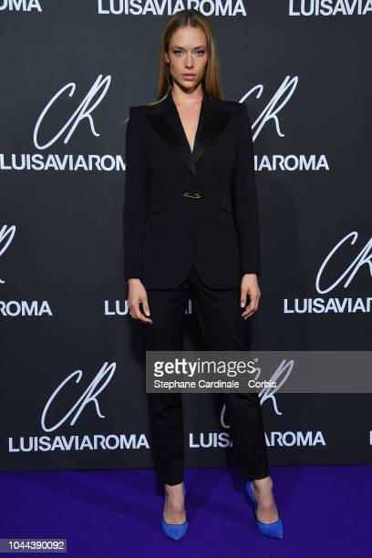 Hannah Ferguson attends the CR Fashion Book x LuisaViaRoma Photocall as part of the Paris Fashion Week Womenswear Spring/Summer 2019 on October 1...