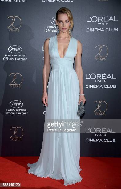 Hannah Ferguson attends the Gala 20th Birthday Of L'Oreal In Cannes during the 70th annual Cannes Film Festival at Martinez Hotel on May 24 2017 in...