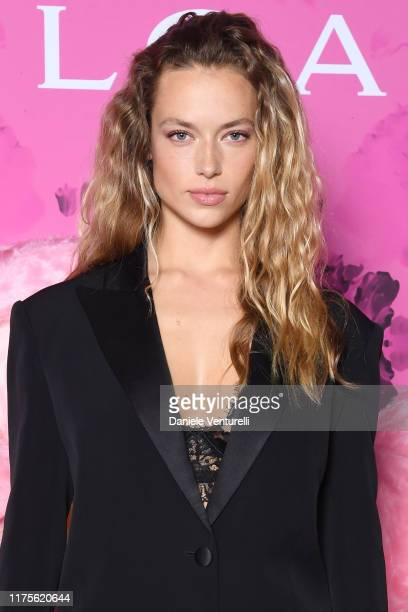 Hannah Ferguson attends the Vogue Japan 20th Anniversary Party on September 18, 2019 in Milan, Italy.