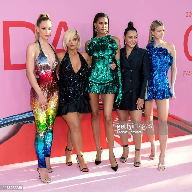 Hannah Ferguson, Bebe Rexha, Cindy Bruna, designer Angelys Balek and Nadine Leopold attend the 2019 CFDA Fashion Awards at the Brooklyn Museum of Art...