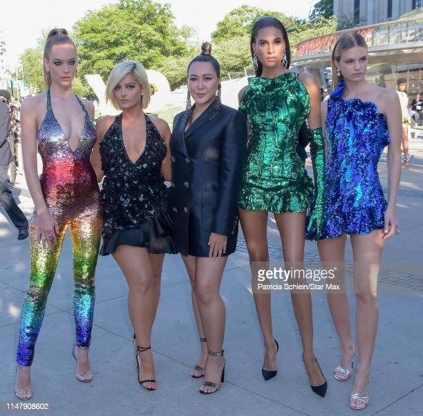 Hannah Ferguson, Bebe Rexha, designer Angelys Balek, Cindy Bruna and Nadine Leopold are seen on June 3, 2019 at the 2019 CFDA Fashion Awards in New...