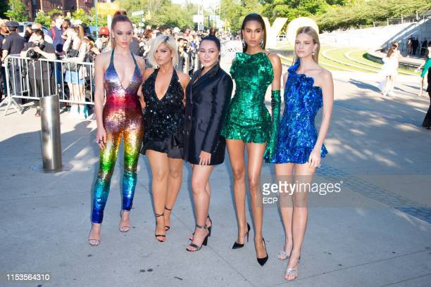 Hannah Ferguson, Bebe Rexha, designer Angelys Balek, Cindy Bruna and Nadine Leopold at the 2019 CFDA Fashion Awards held at the Brooklyn Museum on...