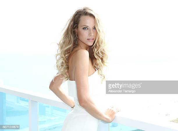Hannah Ferguson is seen during the press conference to announce the 2016 SI Swimsuit launch week festivities at 1 Hotel & Homes South Beach on...