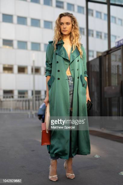 Hannah Ferguson is seen on the street during Paris Fashion Week SS19 wearing ChloŽ on September 27 2018 in Paris France