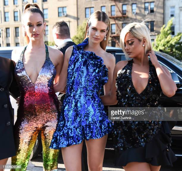 Hannah Ferguson, Nadine Leopold and Bebe Rexha are seen outside the 2019 CFDA Fashion Awards at the Brooklyn Museum on June 03, 2019 in New York City.