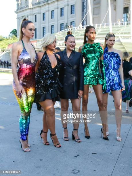 Hannah Ferguson, Nadine Leopold, Angelys Balek, Cindy Bruna and Bebe Rexha are seen outside of the 2019 CFDA fashion awards at the Brooklyn Museum on...
