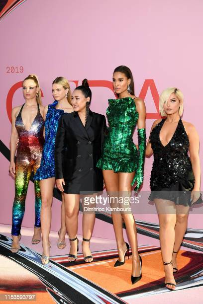 Hannah Ferguson, Nadine Leopold, designer Angelys Balek, Cindy Bruna and Bebe Rexha attend the CFDA Fashion Awards at the Brooklyn Museum of Art on...