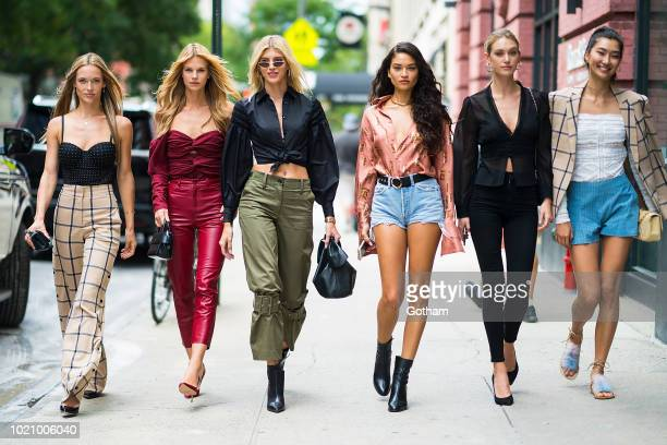 Hannah Ferguson Nadine Leopold Devon Windsor Shanina Shaik Caroline Lowe and Ping Hue are seen in Chelsea on August 21 2018 in New York City