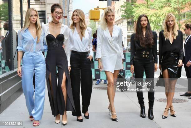 Hannah Ferguson Ping Hue Caroline Lowe Devon Windsor Shanina Shaik and Nadine Leopold are seen on August 22 2018 in New York City