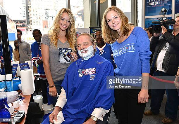 Hannah Ferguson Rod Gilbert and Jessica Perez attend the Final Shave Event To Launch The 2014 Rangers BeardAThon at Rangerstown Hockey House on April...