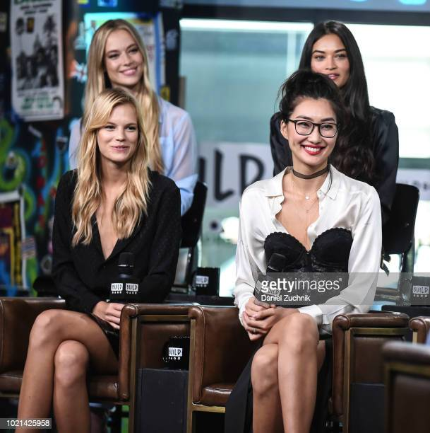 Hannah Ferguson Shanina Shaik Nadine Leopold and Ping Hue attend the Build Series to discuss the E tv show 'Model Squad' at Build Studio on August 22...