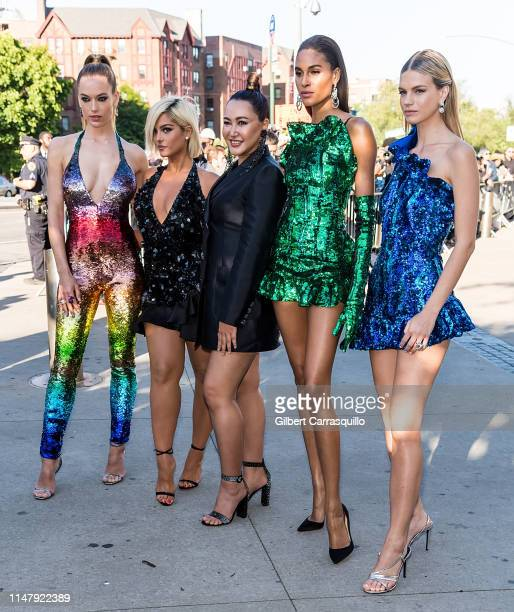 Hannah Ferguson, singer Bebe Rexha, Cindy Bruna, fashion designer Angelys Balek and Nadine Leopold are seen arriving to the 2019 CFDA Fashion Awards...
