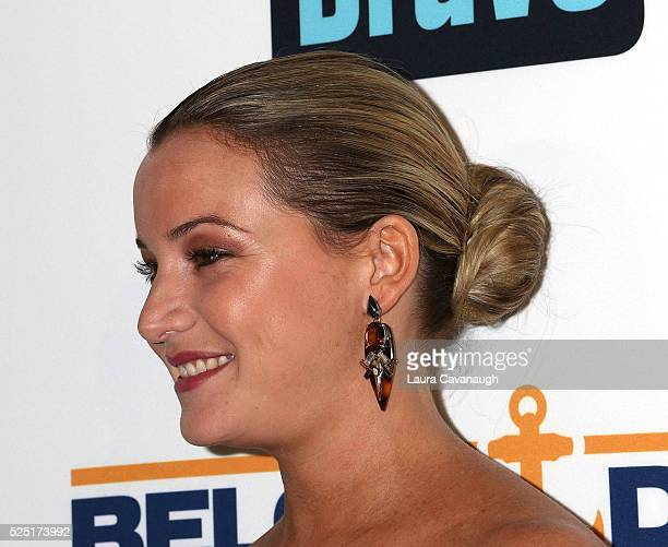 Hannah Ferrier hair and earring detail attends Bravo's Below Deck Premiere at The IAC Building on April 27 2016 in New York City