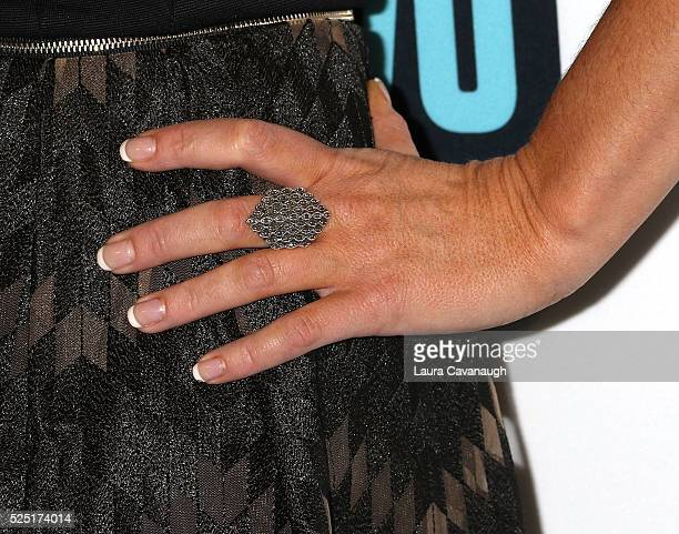 Hannah Ferrier ring detail attends Bravo's Below Deck Premiere at The IAC Building on April 27 2016 in New York City