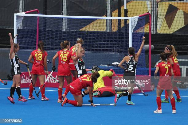 Hannah Gablac of Germany and Selin Oruz of Germany celebrate their second goal during the Pool C game between Spain and Germany of the FIH Womens...