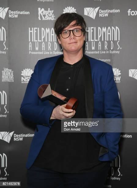 Hannah Gadsby poses with her award for Best Comedy Performer during the 17th Annual Helpmann Awards at Lyric Theatre Star City on July 24 2017 in...