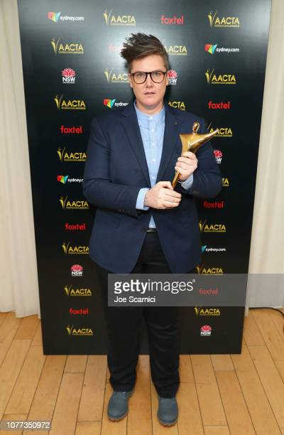 """Hannah Gadsby poses with the AACTA Award for Best Performance in a Television Comedy in the 8th AACTA International Awards """" Media Room on January 4..."""