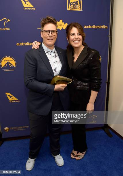 Hannah Gadsby poses with the Create NSW Annette Kellerman Award and Monica Lewinsky backstage during the 7th Annual Australians in Film Awards Gala...