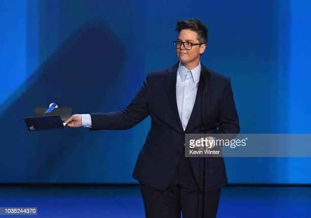Hannah Gadsby speaks onstage during the 70th Emmy Awards at Microsoft Theater on September 17 2018 in Los Angeles California