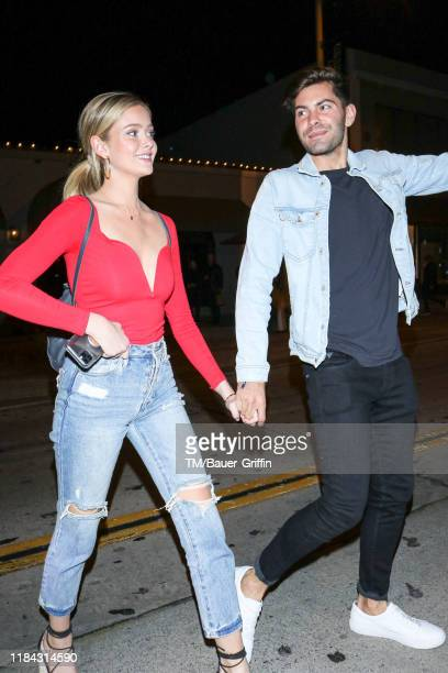 Hannah Godwin and Dylan Barbour are seen on November 23 2019 in Los Angeles California