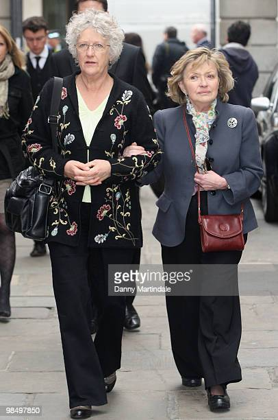 Hannah Gordon and friend attend the funeral of Christopher Cazenove held at St Paul's Church in Covent Garden on April 16 2010 in London England