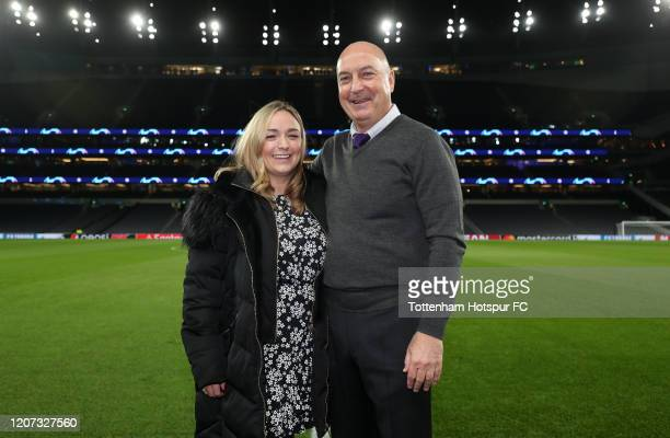 Hannah Greaves and Danny Greaves the granddaughter and son of former Tottenham Hotspur player Jimmy Greaves pose before the UEFA Champions League...