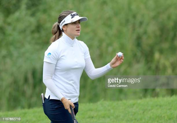 Hannah Green of Australia acknowledges the crowd after making a par on the par 3 17th hole during the final round of the 2019 KPMG Women's PGA...