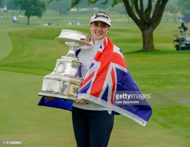 Hannah Green of Australia after winning the 2019 KPMG Women's PGA Championship with trophy on June 23 at the Hazeltine National Golf Club in Chaska MN