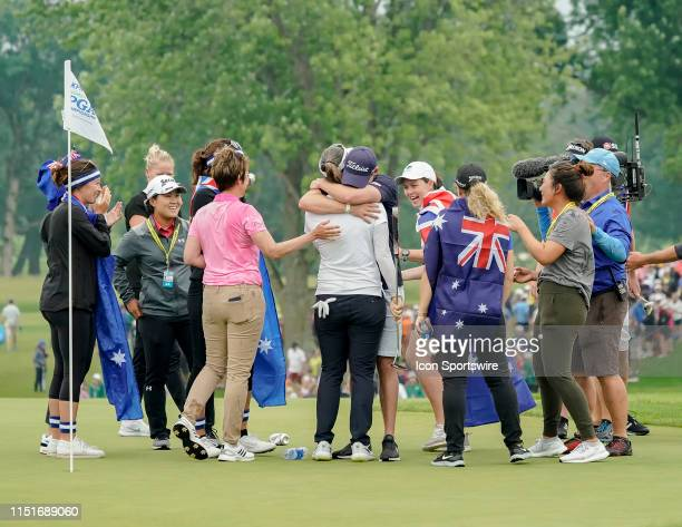Hannah Green of Australia at the 18th green after winning the final round of the 2019 KPMG Women's PGA Championship on June 23 at the Hazeltine...