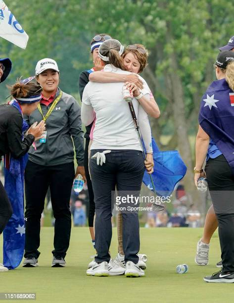 Hannah Green of Australia at the 18th green cryingHugged by Australian Karrie Web during the final round of the 2019 KPMG Women's PGA Championship on...