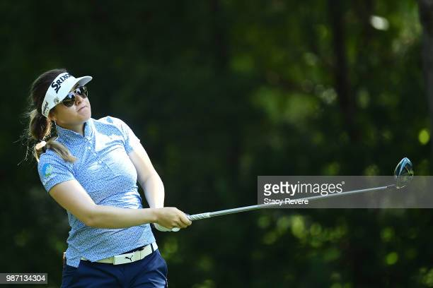 Hannah Green of Australia hits her tee shot on the 12th hole during the second round of the KPMG Women's PGA Championship at Kemper Lakes Golf Club...