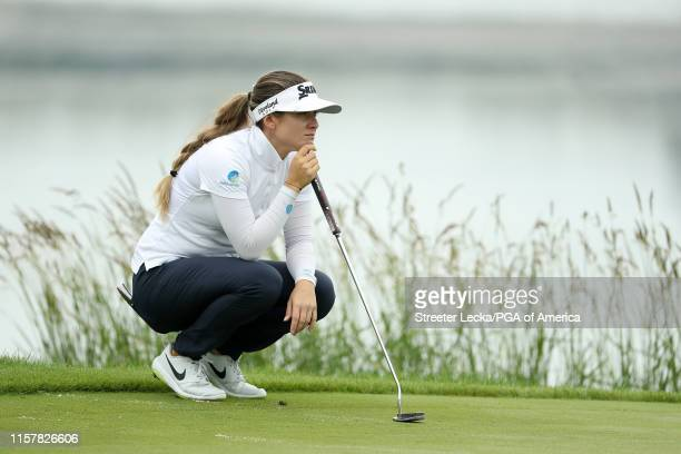 Hannah Green of Australia lines up a putt on the 10th green during the final round of the KPMG PGA Championship at Hazeltine National Golf Club on...