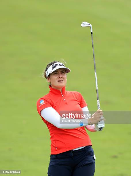 Hannah Green of Australia plays her second shot on the par 4 18th hole during the second round of the 2019 KPMG Women's PGA Championship at Hazeltine...