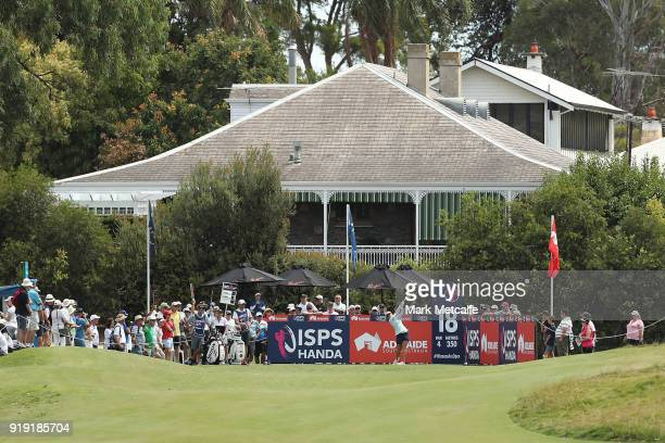 Hannah Green of Australia plays her tee shot on the 18th hole during day three of the ISPS Handa Australian Women's Open at Kooyonga Golf Club on...