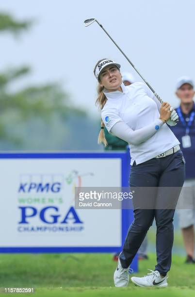 Hannah Green of Australia plays her tee shot on the par 3 17th hole during the final round of the 2019 KPMG Women's PGA Championship at Hazeltine...