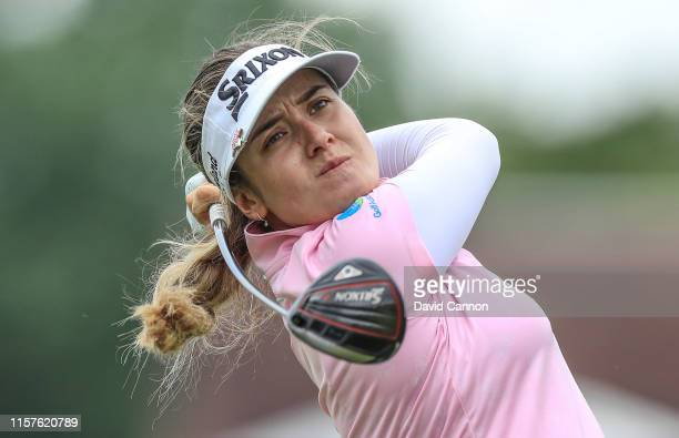 Hannah Green of Australia plays her tee shot on the par 4, ninth hole during the third round of the 2019 Women's PGA Championship at Hazeltine...