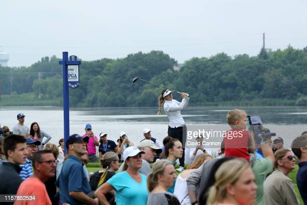 Hannah Green of Australia plays her tee shot on the par 5 11th hole during the final round of the 2019 KPMG Women's PGA Championship at Hazeltine...