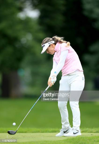 Hannah Green of Australia plays her tees hot on the par 5, seventh hole during the third round of the 2019 Women's PGA Championship at Hazeltine...