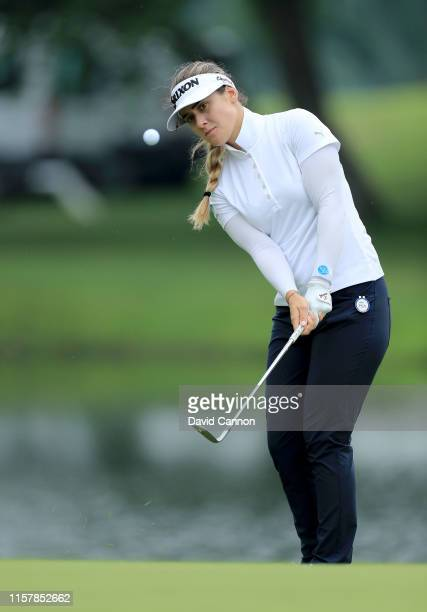Hannah Green of Australia plays her third shot on the par 4 12th hole during the final round of the 2019 KPMG Women's PGA Championship at Hazeltine...