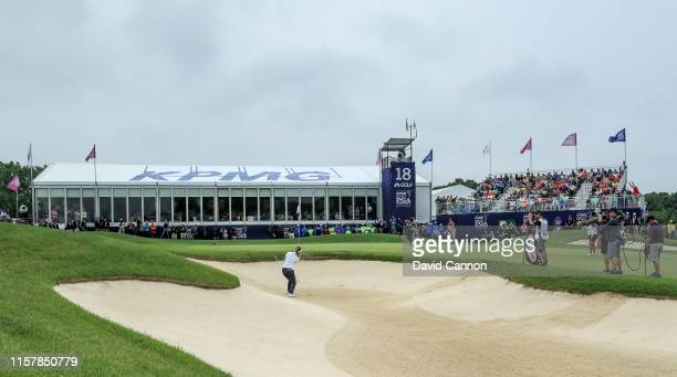 Hannah Green of Australia plays her third shot on the par 4, 18th hole to secure a one-shot victory during the final round of the 2019 KPMG Women's...