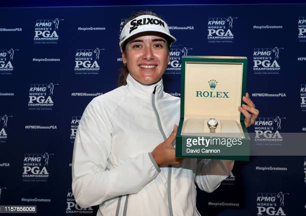 Hannah Green of Australia poses with her Rolex winners watch after her one shot victory in the final round of the 2019 KPMG Women's PGA Championship...