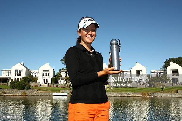 Hannah Green of Australia poses with the NZ Amature trophy after day three of the ISPS Handa New Zealand Women's Open at Clearwater Golf Course on...