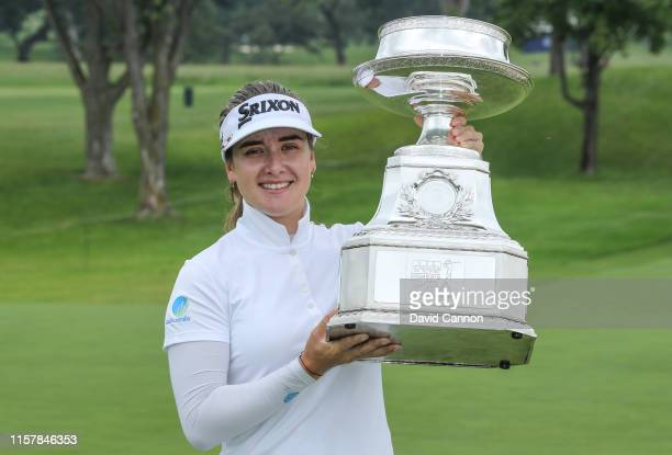 Hannah Green of Australia poses with the trophy after her one shot victory in the final round of the 2019 KPMG Women's PGA Championship at Hazeltine...