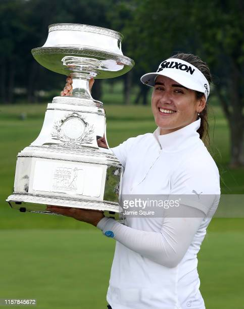 Hannah Green of Australia poses with the trophy after winning the KPMG Women's PGA Championship at Hazeltine National Golf Course on June 23, 2019 in...