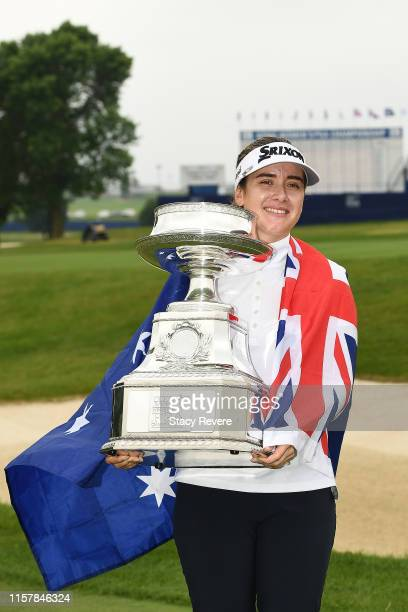 Hannah Green of Australia poses with the trophy after winning the KPMG PGA Championship at Hazeltine National Golf Club on June 23, 2019 in Chaska,...