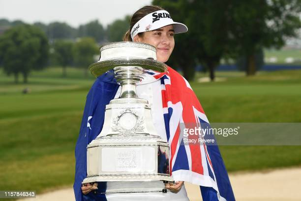 Hannah Green of Australia poses with the trophy after winning the KPMG PGA Championship at Hazeltine National Golf Club on June 23 2019 in Chaska...