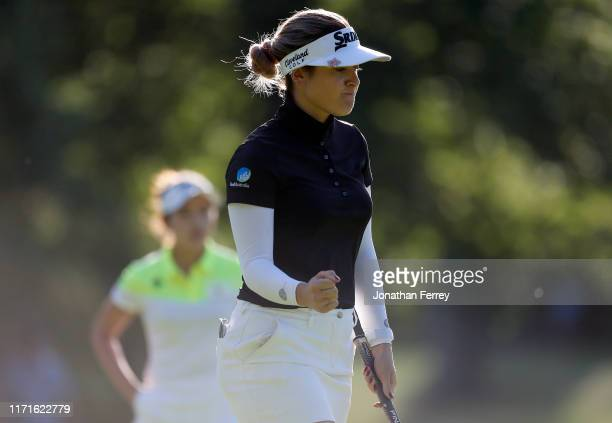 Hannah Green of Australia pumps her fist after making a birdie putt on the 17th hole during the final round of the LPGA Cambia Portland Classic at...