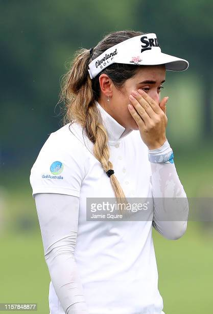 Hannah Green of Australia reacts after winning the KPMG Women's PGA Championship at Hazeltine National Golf Course on June 23 2019 in Chaska Minnesota