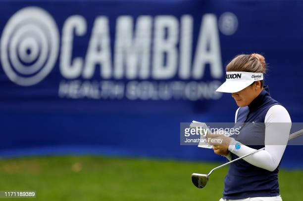 Hannah Green of Australia waits to putt on the 18th hole during the second round of the LPGA Cambia Portland Classic at Columbia Edgewater Country...
